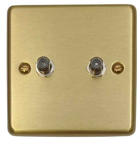 G&H CSB237 Standard Plate Satin Brushed Brass 2 Gang Satellite Socket Point